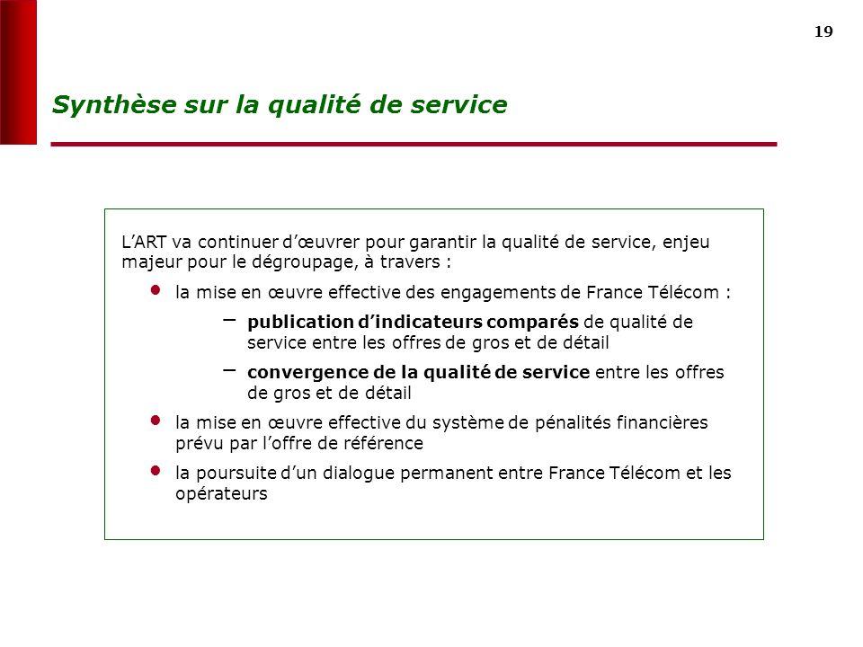 18 Prochaines étapes LAutorité va transmettre à France Télécom une liste définitive dindicateurs à mesurer sur le marché du dégroupage et sur les marc
