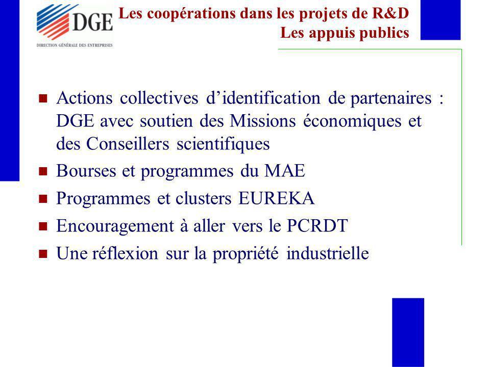 Actions collectives didentification de partenaires : DGE avec soutien des Missions économiques et des Conseillers scientifiques Bourses et programmes