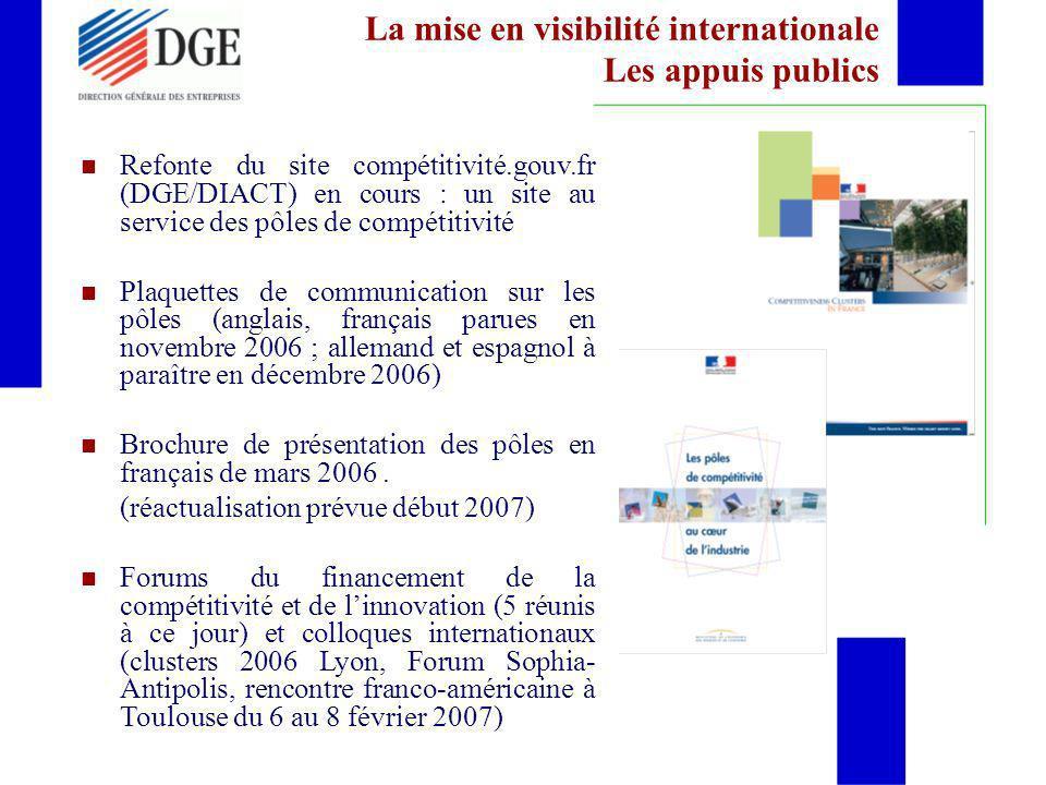 La mise en visibilité internationale Les appuis publics Refonte du site compétitivité.gouv.fr (DGE/DIACT) en cours : un site au service des pôles de c