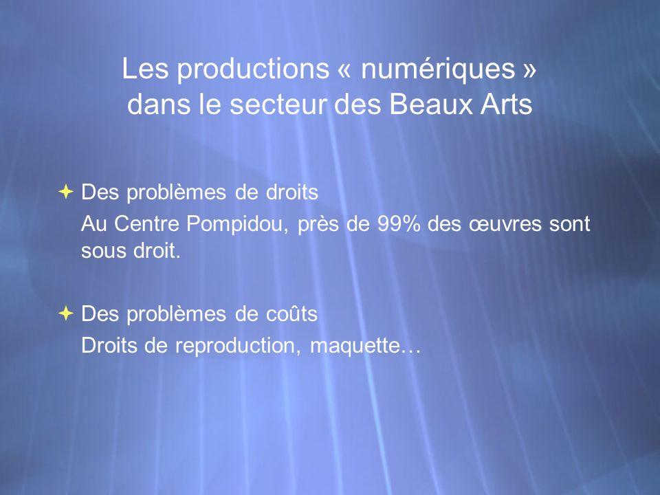 Les productions « numériques » dans le secteur des Beaux Arts Des problèmes de droits Au Centre Pompidou, près de 99% des œuvres sont sous droit. Des