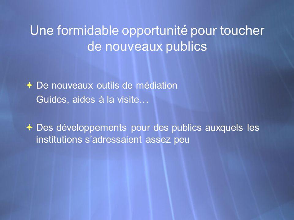 Une formidable opportunité pour toucher de nouveaux publics De nouveaux outils de médiation Guides, aides à la visite… Des développements pour des pub