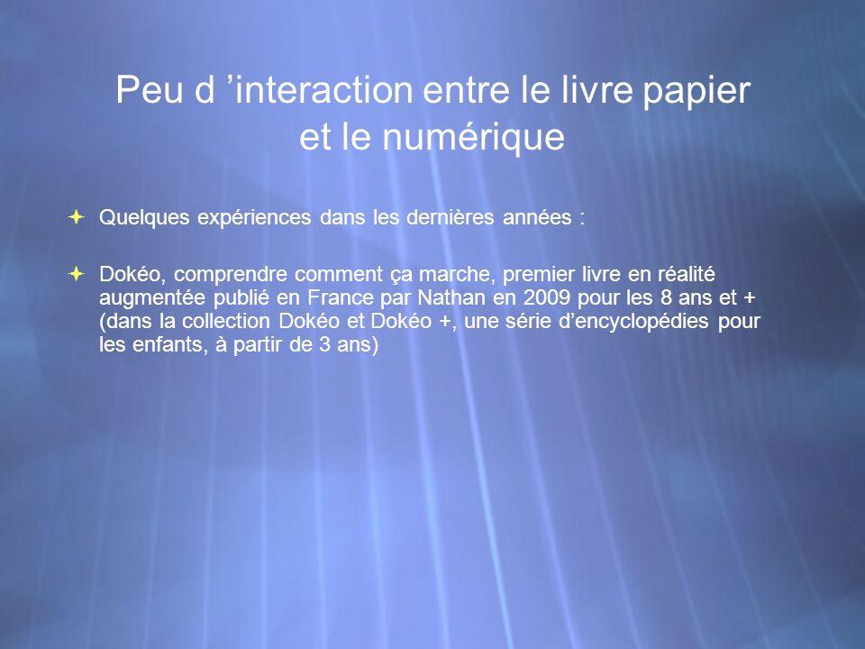 Peu d interaction entre le livre papier et le numérique Quelques expériences dans les dernières années : Dokéo, comprendre comment ça marche, premier