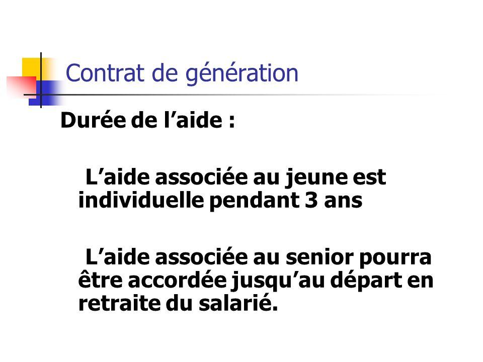 Contrat de génération Durée de laide : Laide associée au jeune est individuelle pendant 3 ans Laide associée au senior pourra être accordée jusquau dé