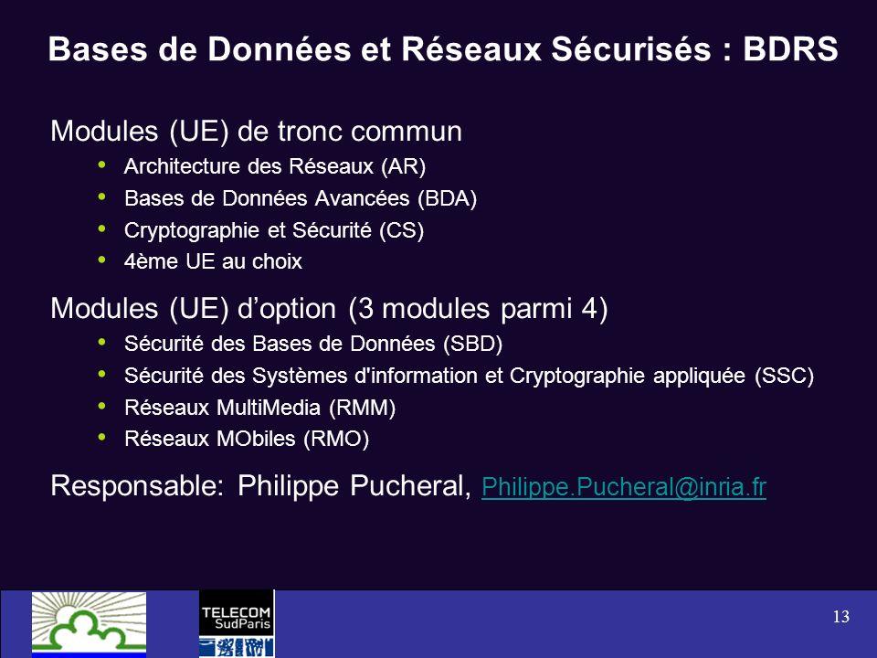 13 Bases de Données et Réseaux Sécurisés : BDRS Modules (UE) de tronc commun Architecture des Réseaux (AR) Bases de Données Avancées (BDA) Cryptograph