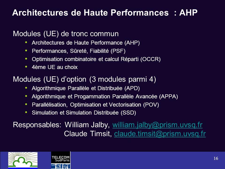 16 Architectures de Haute Performances : AHP Modules (UE) de tronc commun Architectures de Haute Performance (AHP) Performances, Sûreté, Fiabilité (PS
