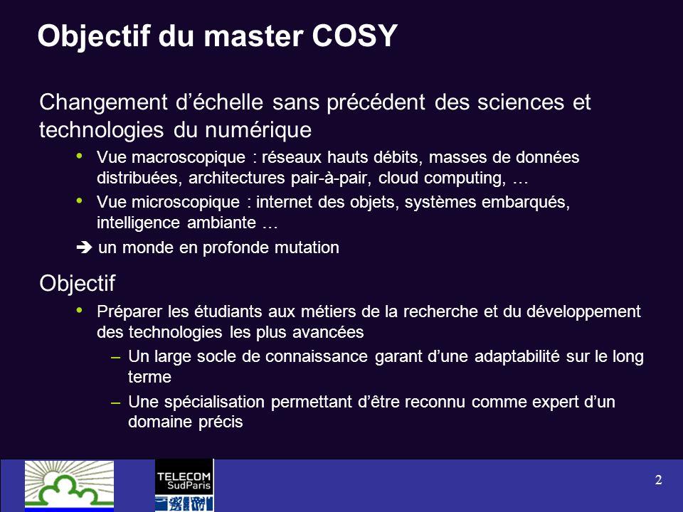 2 Objectif du master COSY Changement déchelle sans précédent des sciences et technologies du numérique Vue macroscopique : réseaux hauts débits, masse