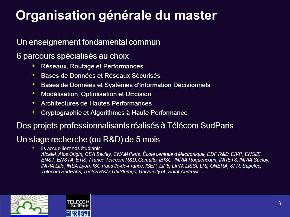 3 Organisation générale du master Un enseignement fondamental commun 6 parcours spécialisés au choix Réseaux, Routage et Performances Bases de Données