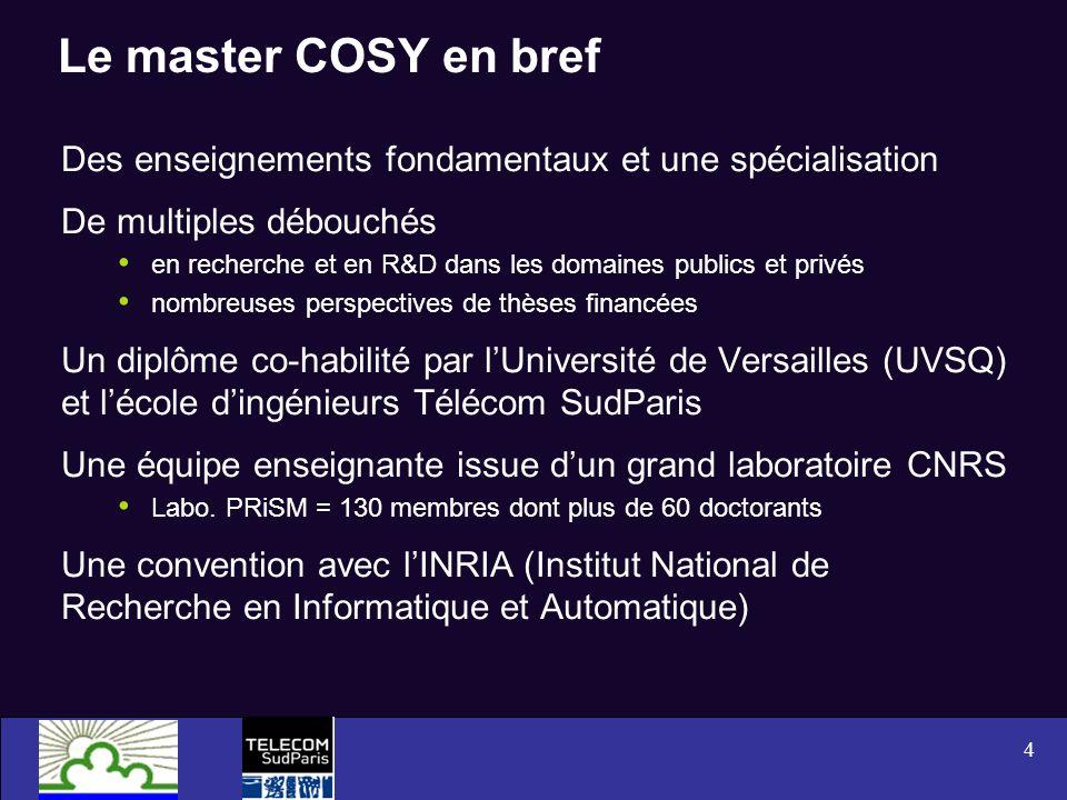 4 Le master COSY en bref Des enseignements fondamentaux et une spécialisation De multiples débouchés en recherche et en R&D dans les domaines publics