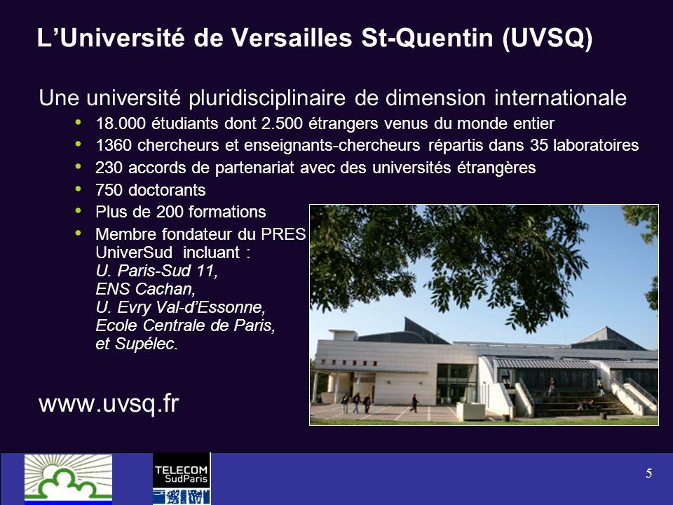 5 LUniversité de Versailles St-Quentin (UVSQ) Une université pluridisciplinaire de dimension internationale 18.000 étudiants dont 2.500 étrangers venu