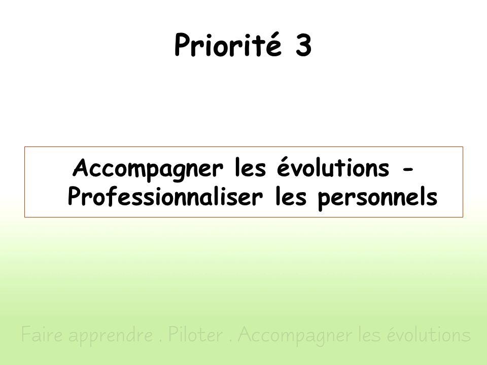 Priorité 3 Accompagner les évolutions - Professionnaliser les personnels