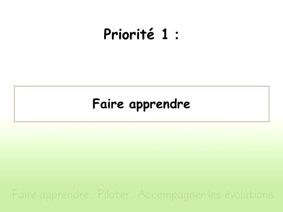 Priorité 1 : Faire apprendre