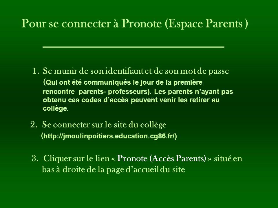 1.Se munir de son identifiant et de son mot de passe ( Qui ont été communiqués le jour de la première rencontre parents- professeurs). Les parents nay