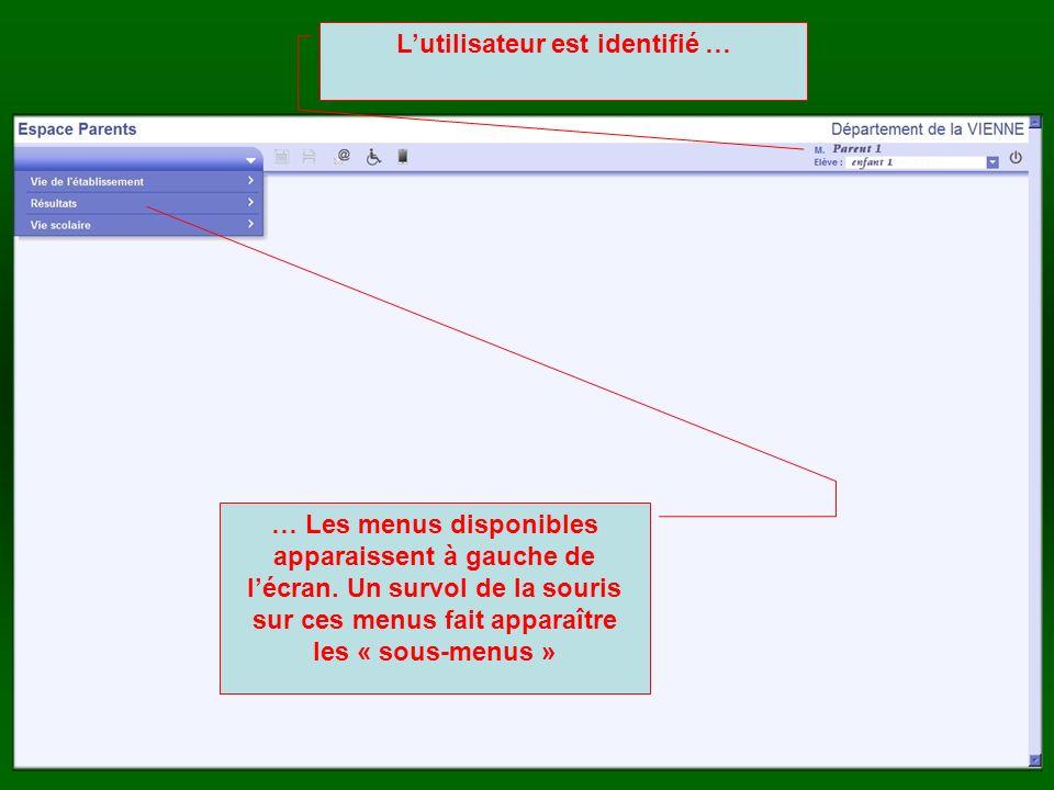Lutilisateur est identifié … … Les menus disponibles apparaissent à gauche de lécran. Un survol de la souris sur ces menus fait apparaître les « sous-