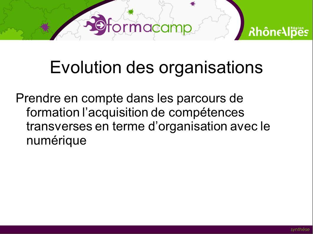 Evolution des organisations Prendre en compte dans les parcours de formation lacquisition de compétences transverses en terme dorganisation avec le nu