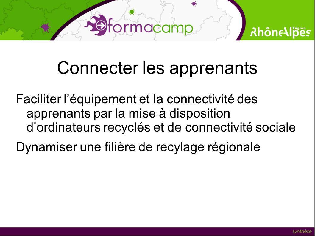 Connecter les apprenants Faciliter léquipement et la connectivité des apprenants par la mise à disposition dordinateurs recyclés et de connectivité so