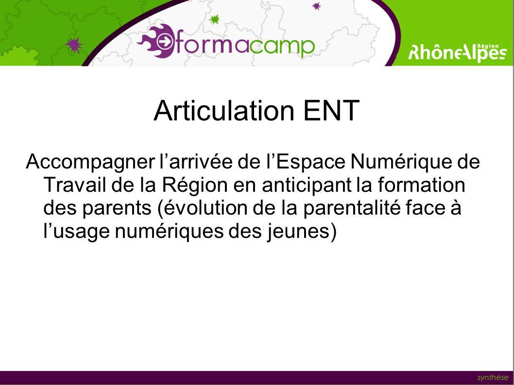 Articulation ENT Accompagner larrivée de lEspace Numérique de Travail de la Région en anticipant la formation des parents (évolution de la parentalité