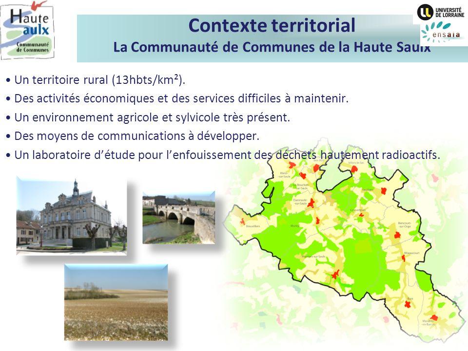 Contexte territorial La Communauté de Communes de la Haute Saulx Un territoire rural (13hbts/km²). Des activités économiques et des services difficile