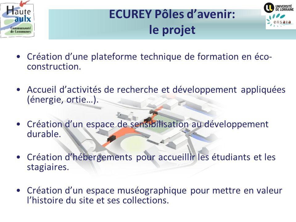 ECUREY Pôles davenir: le projet Création dune plateforme technique de formation en éco- construction. Accueil dactivités de recherche et développement