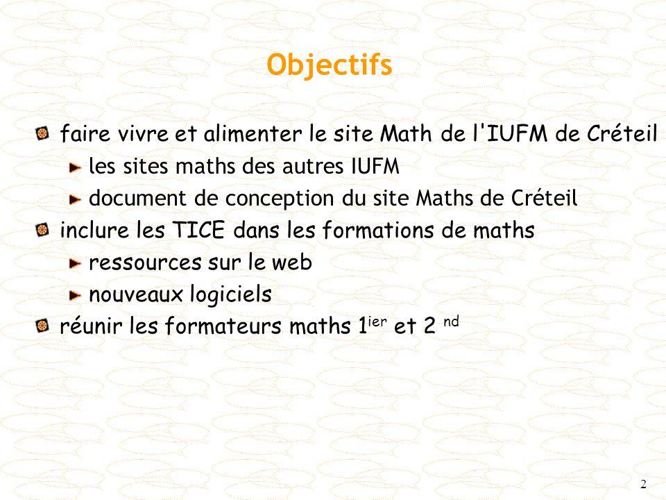2 Objectifs faire vivre et alimenter le site Math de l'IUFM de Créteil les sites maths des autres IUFM document de conception du site Maths de Créteil