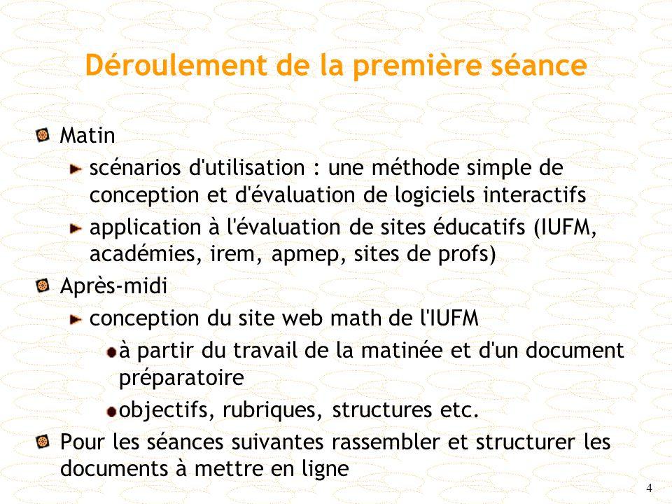 4 Déroulement de la première séance Matin scénarios d'utilisation : une méthode simple de conception et d'évaluation de logiciels interactifs applicat