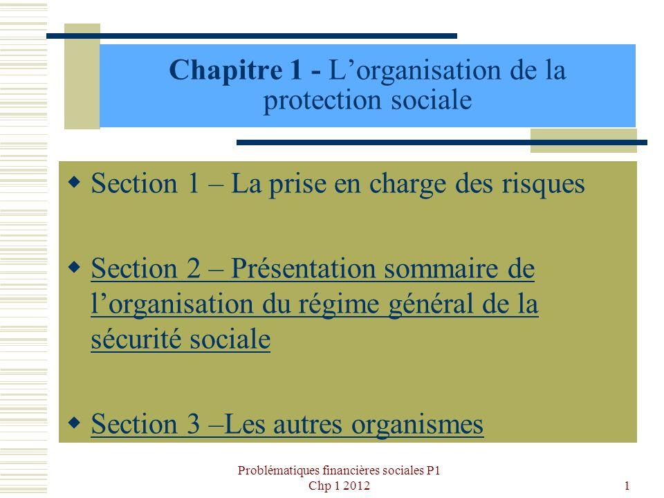 Chapitre 1 - Lorganisation de la protection sociale Section 1 – La prise en charge des risques Section 2 – Présentation sommaire de lorganisation du r