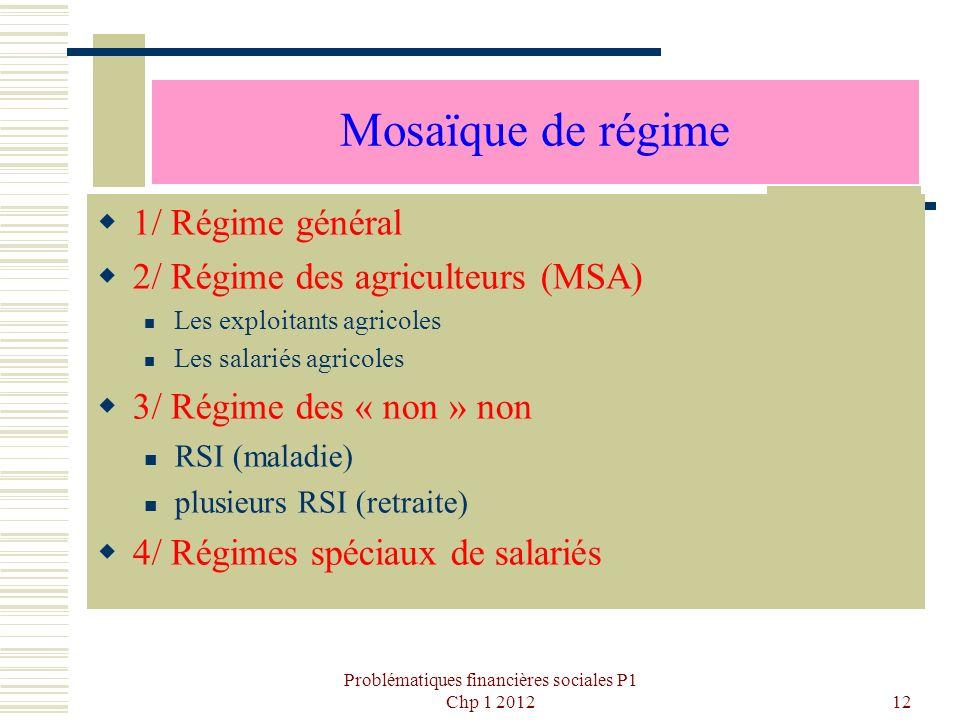 Problématiques financières sociales P1 Chp 1 201212 Mosaïque de régime 1/ Régime général 2/ Régime des agriculteurs (MSA) Les exploitants agricoles Le