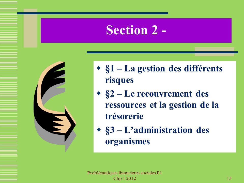 Problématiques financières sociales P1 Chp 1 201215 Section 2 - §1 – La gestion des différents risques §2 – Le recouvrement des ressources et la gesti