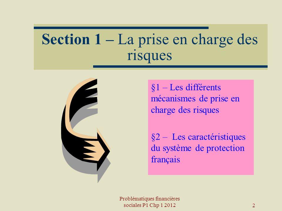 2 Section 1 – La prise en charge des risques §1 – Les différents mécanismes de prise en charge des risques §2 – Les caractéristiques du système de pro