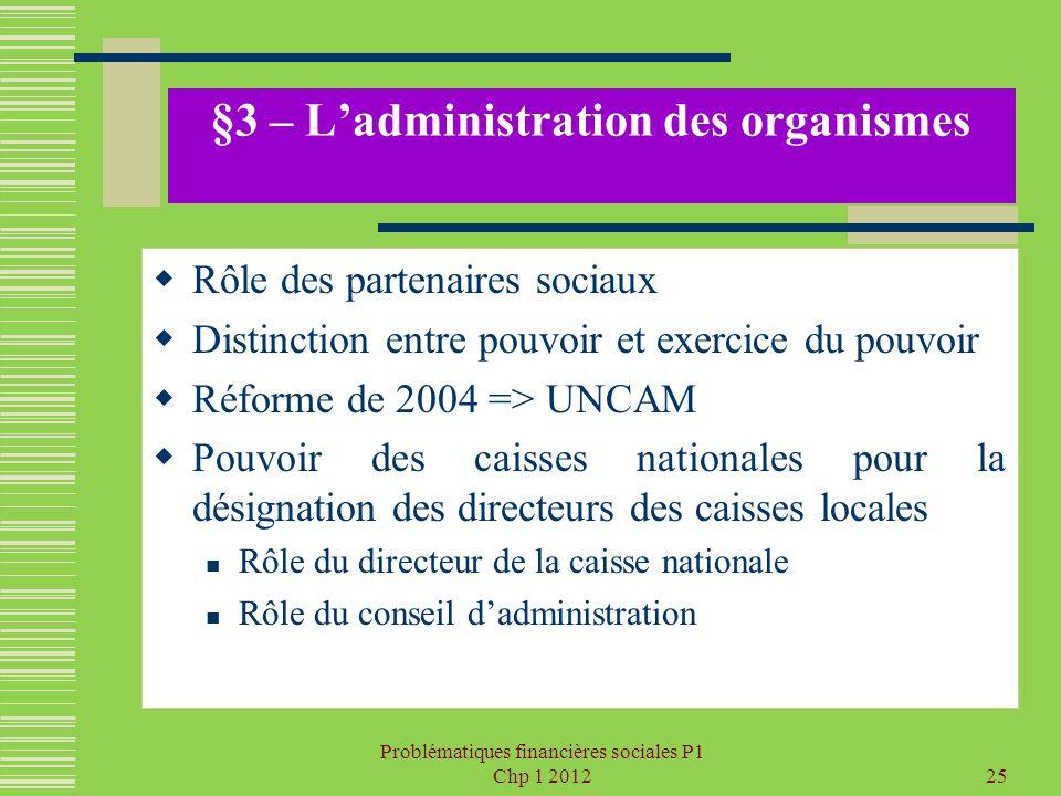 Problématiques financières sociales P1 Chp 1 201225 §3 – Ladministration des organismes Rôle des partenaires sociaux Distinction entre pouvoir et exer