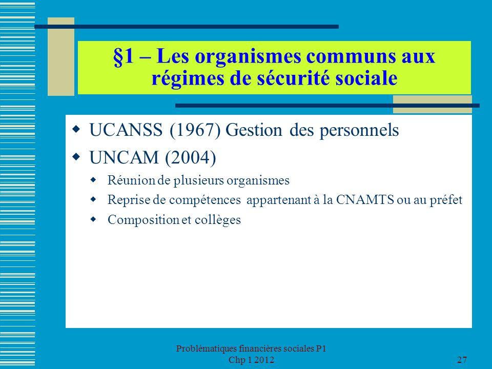 Problématiques financières sociales P1 Chp 1 201227 §1 – Les organismes communs aux régimes de sécurité sociale UCANSS (1967) Gestion des personnels U