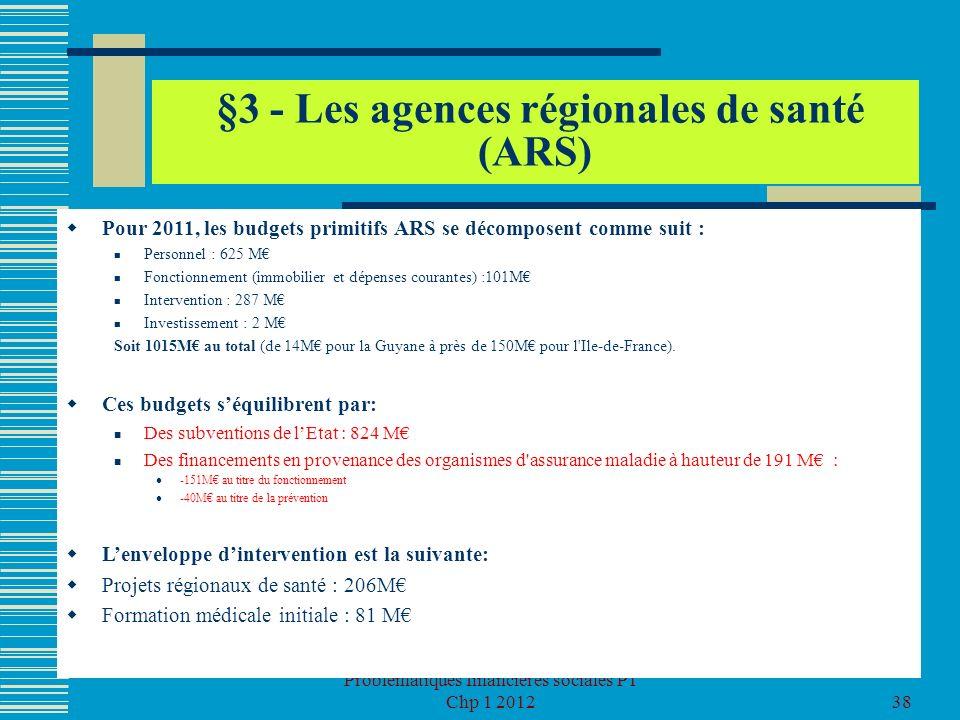 Problématiques financières sociales P1 Chp 1 201238 §3 - Les agences régionales de santé (ARS) Pour 2011, les budgets primitifs ARS se décomposent com