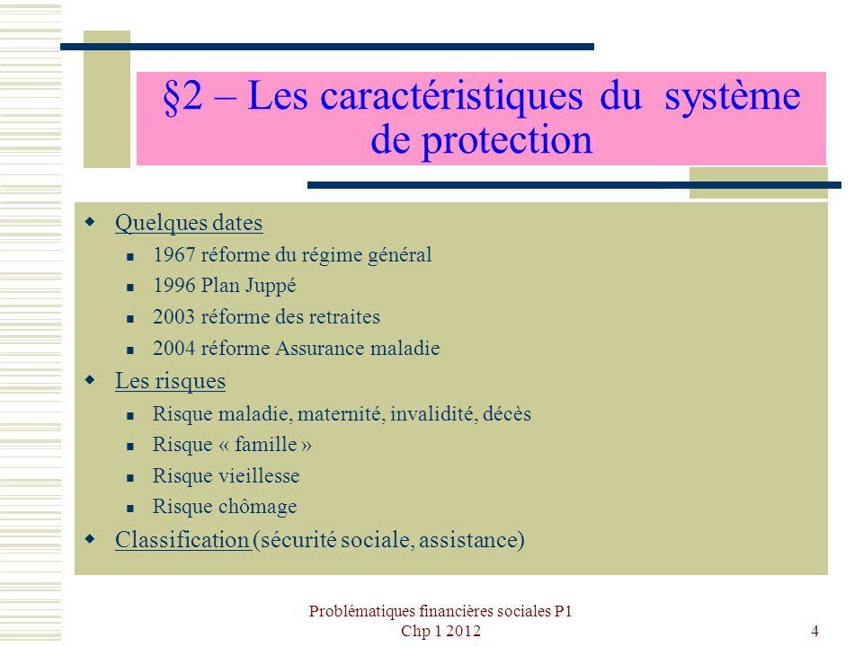 Problématiques financières sociales P1 Chp 1 20124 §2 – Les caractéristiques du système de protection Quelques dates 1967 réforme du régime général 19