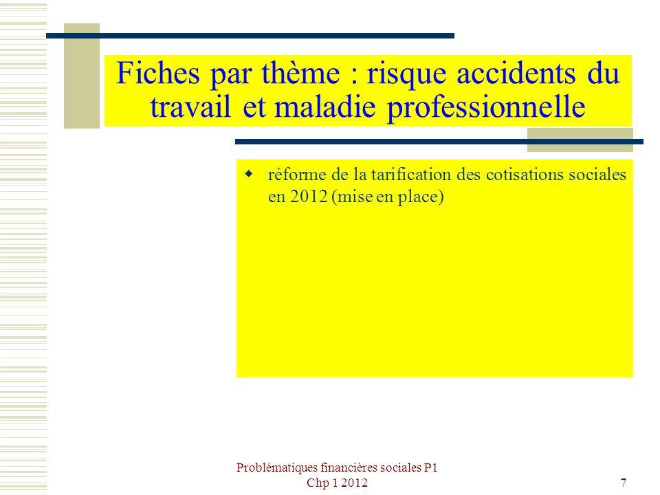 Problématiques financières sociales P1 Chp 1 201238 §3 - Les agences régionales de santé (ARS) Pour 2011, les budgets primitifs ARS se décomposent comme suit : Personnel : 625 M Fonctionnement (immobilier et dépenses courantes) :101M Intervention : 287 M Investissement : 2 M Soit 1015M au total (de 14M pour la Guyane à près de 150M pour l Ile-de-France).