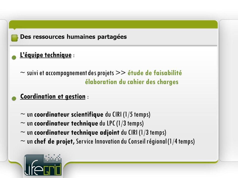 Des ressources humaines partagées Léquipe technique : ~ suivi et accompagnement des projets >> étude de faisabilité élaboration du cahier des charges