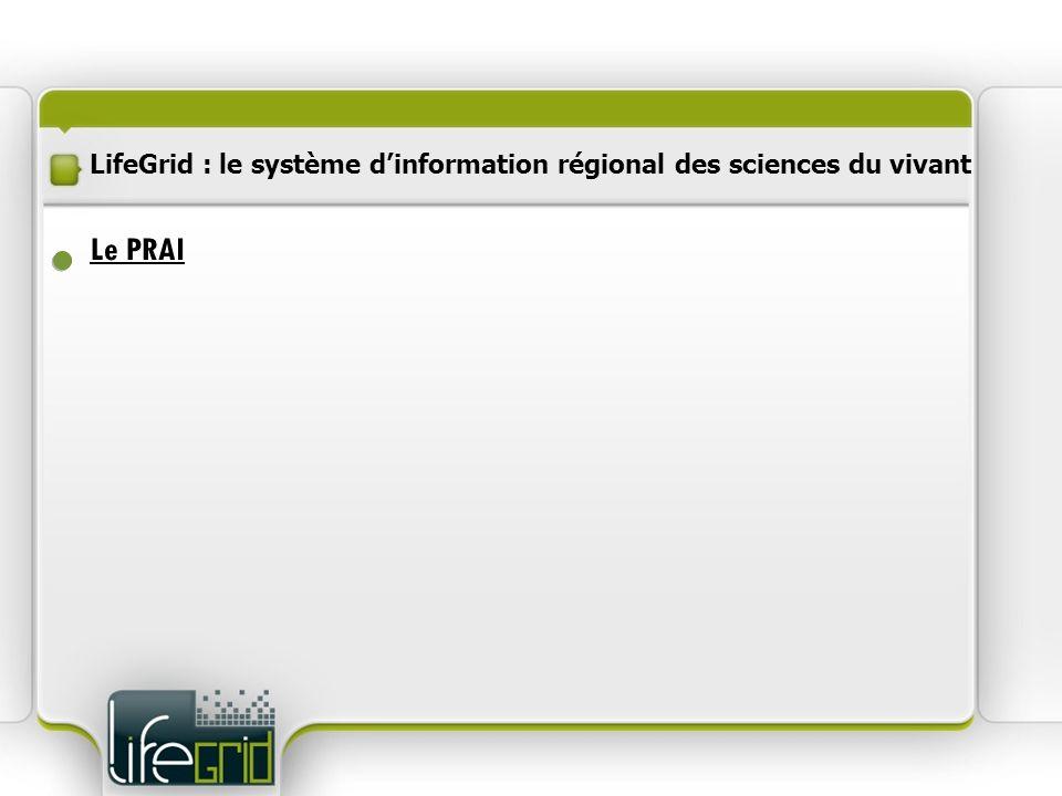 LifeGrid : le système dinformation régional des sciences du vivant Des moyens mutualisés Procédure dinstruction Communication Sélection des projets Le PRAI En cours
