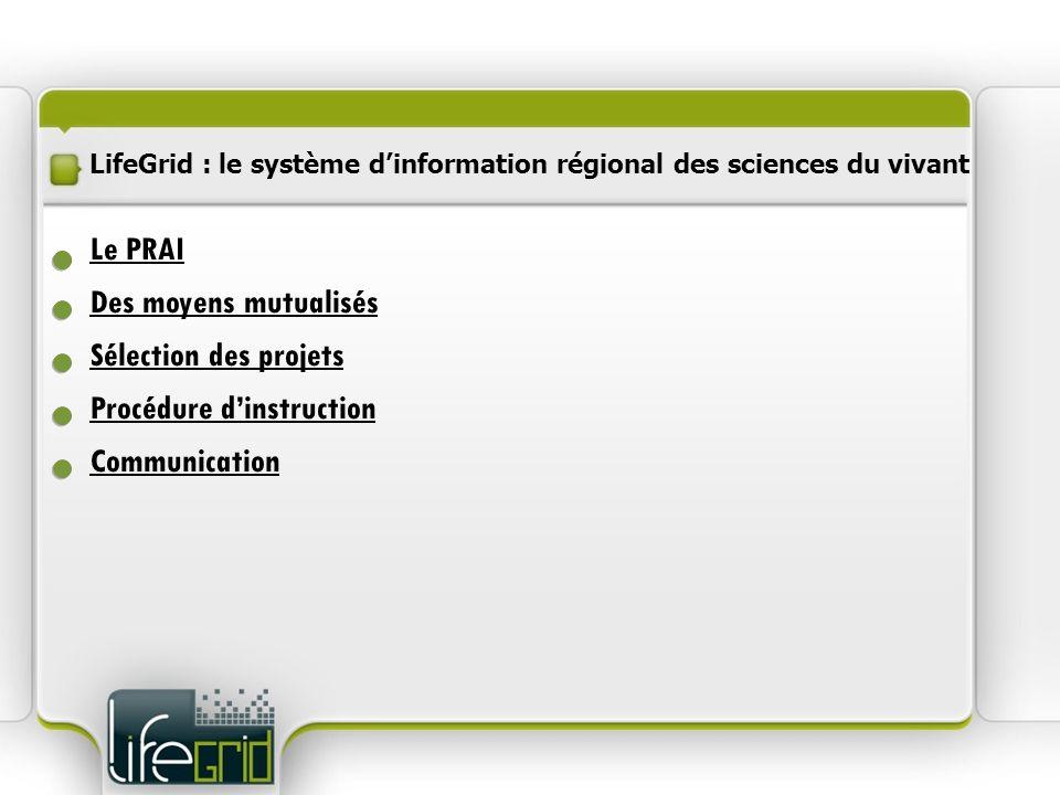 LifeGrid : le système dinformation régional des sciences du vivant Des moyens mutualisés Procédure dinstruction Communication Sélection des projets Le
