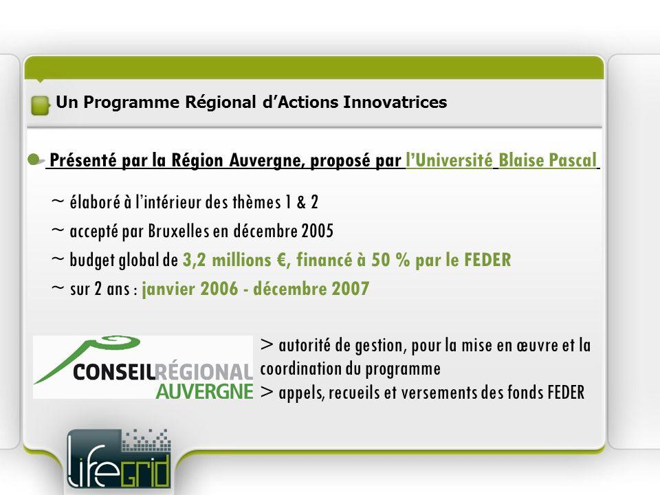 Un Programme Régional dActions Innovatrices ~ élaboré à lintérieur des thèmes 1 & 2 ~ accepté par Bruxelles en décembre 2005 ~ budget global de 3,2 mi