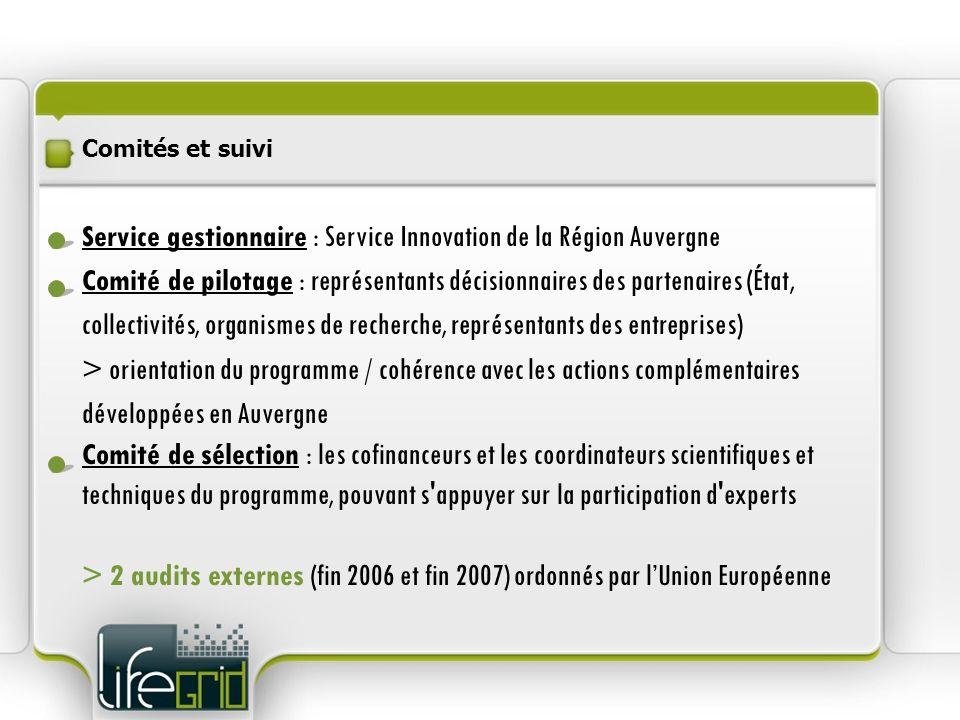 Service gestionnaire : Service Innovation de la Région Auvergne Comité de pilotage : représentants décisionnaires des partenaires (État, collectivités