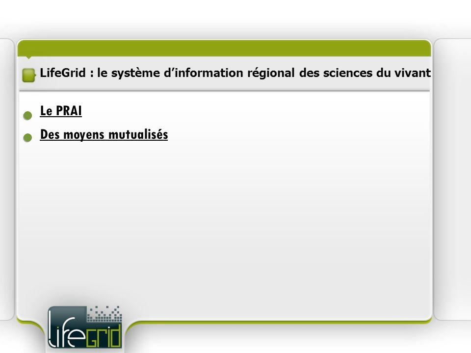 LifeGrid : le système dinformation régional des sciences du vivant Des moyens mutualisés Procédure dinstruction Sélection des projets Le PRAI