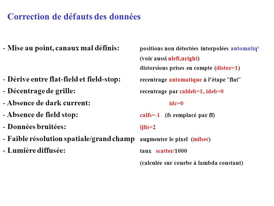 Correction de défauts des données - Mise au point, canaux mal définis: positions non détectées interpolées automatiq t (voir aussi nleft,nright) disto