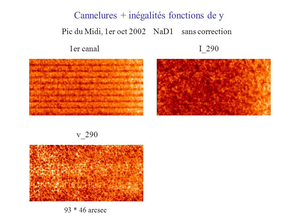 Pic du Midi, 1er oct 2002 NaD1 sans correction Cannelures + inégalités fonctions de y 1er canalI_290 v_290 93 * 46 arcsec