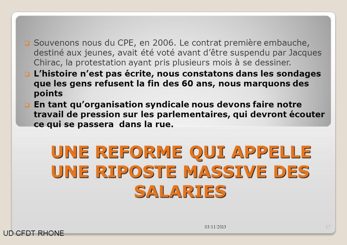 Souvenons nous du CPE, en 2006. Le contrat première embauche, destiné aux jeunes, avait été voté avant dêtre suspendu par Jacques Chirac, la protestat