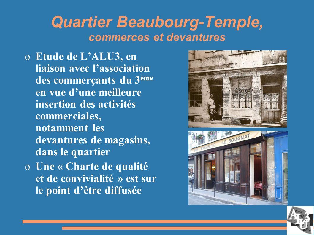 Quartier Beaubourg-Temple, commerces et devantures oEtude de LALU3, en liaison avec lassociation des commerçants du 3 ème en vue dune meilleure insertion des activités commerciales, notamment les devantures de magasins, dans le quartier oUne « Charte de qualité et de convivialité » est sur le point dêtre diffusée