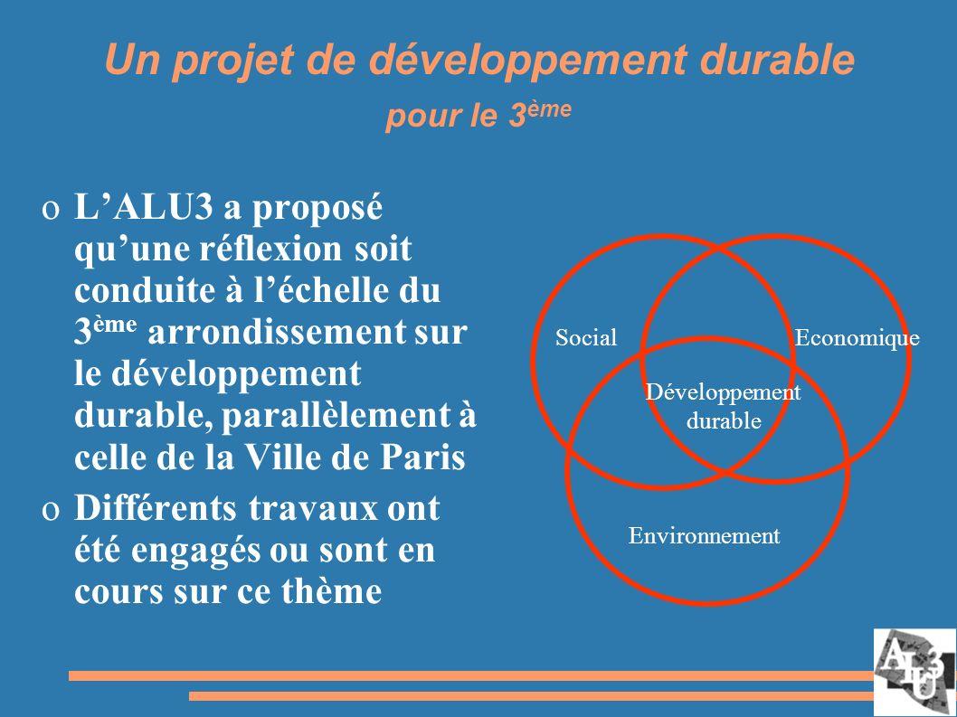 Un projet de développement durable pour le 3 ème oLALU3 a proposé quune réflexion soit conduite à léchelle du 3 ème arrondissement sur le développement durable, parallèlement à celle de la Ville de Paris oDifférents travaux ont été engagés ou sont en cours sur ce thème SocialEconomique Environnement Développement durable