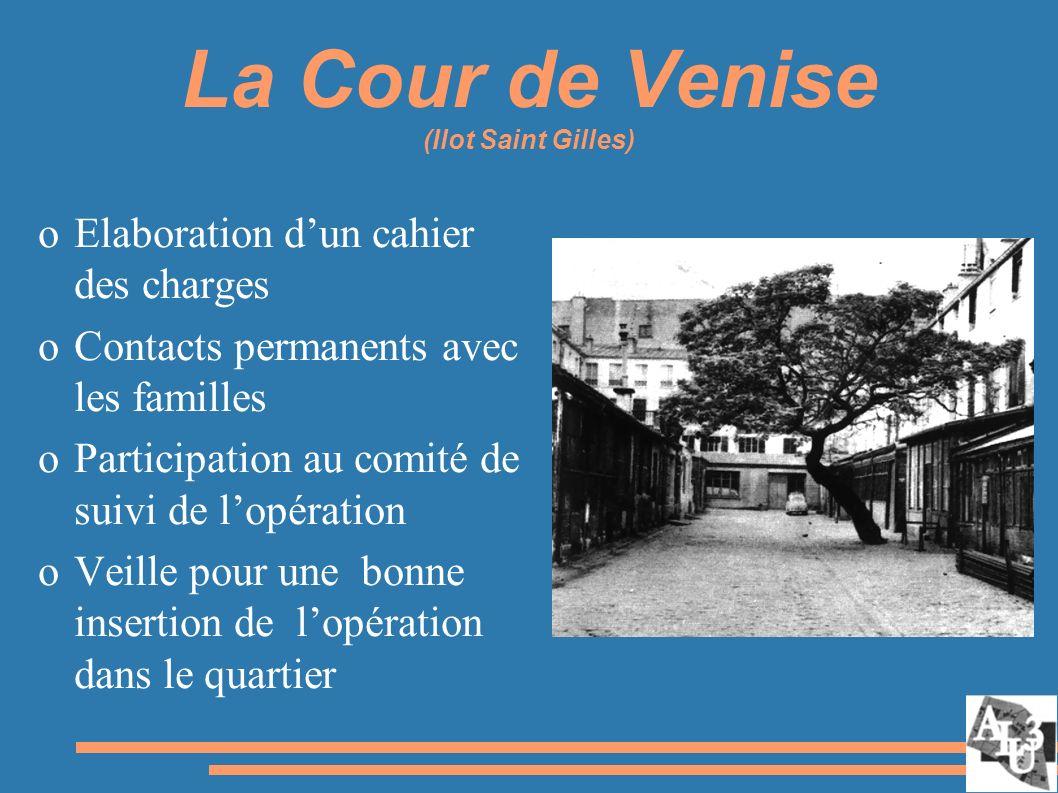 La Cour de Venise (Ilot Saint Gilles) oElaboration dun cahier des charges oContacts permanents avec les familles oParticipation au comité de suivi de