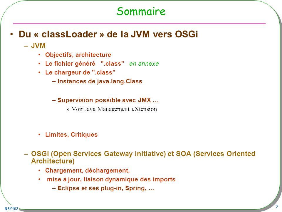 NSY102 14 URLClassLoader : un exemple Chargement distant de fichier.class et exécution –Depuis cette archive http://jfod.cnam.fr/progAvancee/classes/utiles.jar –Ou bien un.class à cette URL http://jfod.cnam.fr/progAvancee/classes/ 1.Création dune instance de URLClassLoader 2.Son parent est le classLoader par défaut 3.Class classe = forName(nom,init,urlClassLoader) 1.nom le nom de la classe 2.init : exécution des blocs statiques retardée ou non 4.Recherche de la méthode main par introspection urlClassLoader