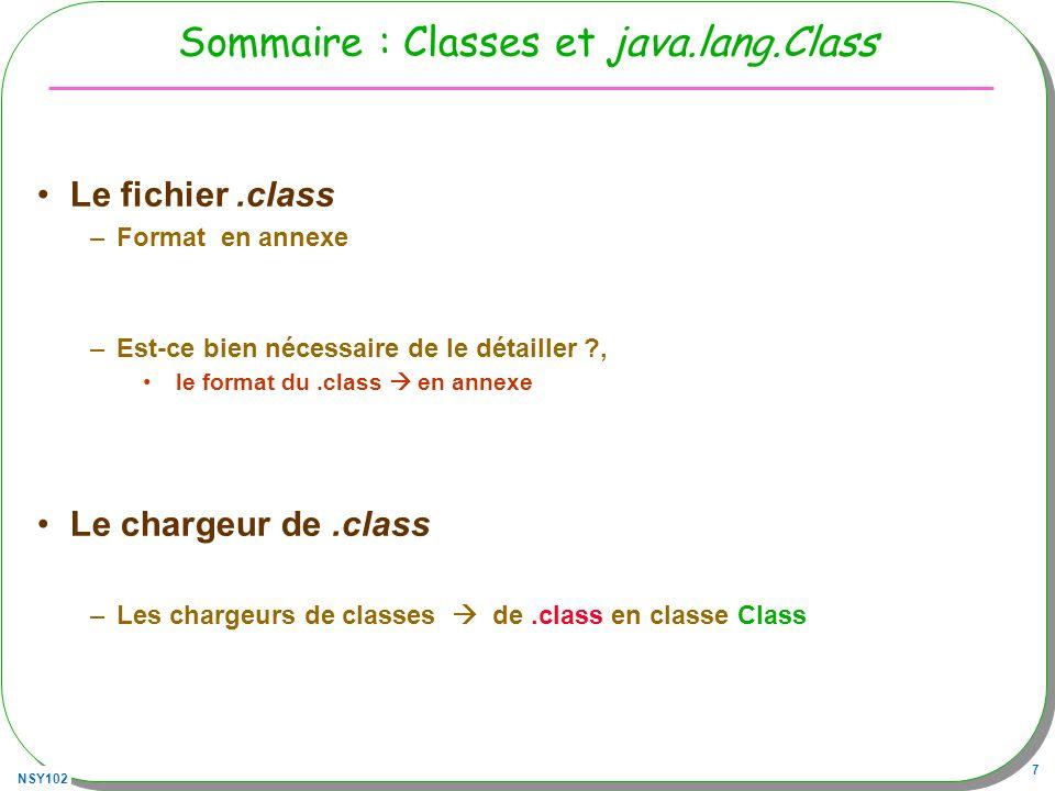 NSY102 8 Sommaire suite A chaque classe un.class, nous avons –Classes anonymes, dynamicProxy, … Chargeur de classe, au fur et à mesure –Du «.class » en instance de java.lang.Class 1100 1010 1111 1110 1011 1010 1011 1110 0000 0011 0001 1101............................