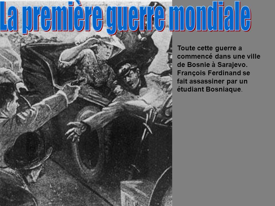 Toute cette guerre a commencé dans une ville de Bosnie à Sarajevo. François Ferdinand se fait assassiner par un étudiant Bosniaque.