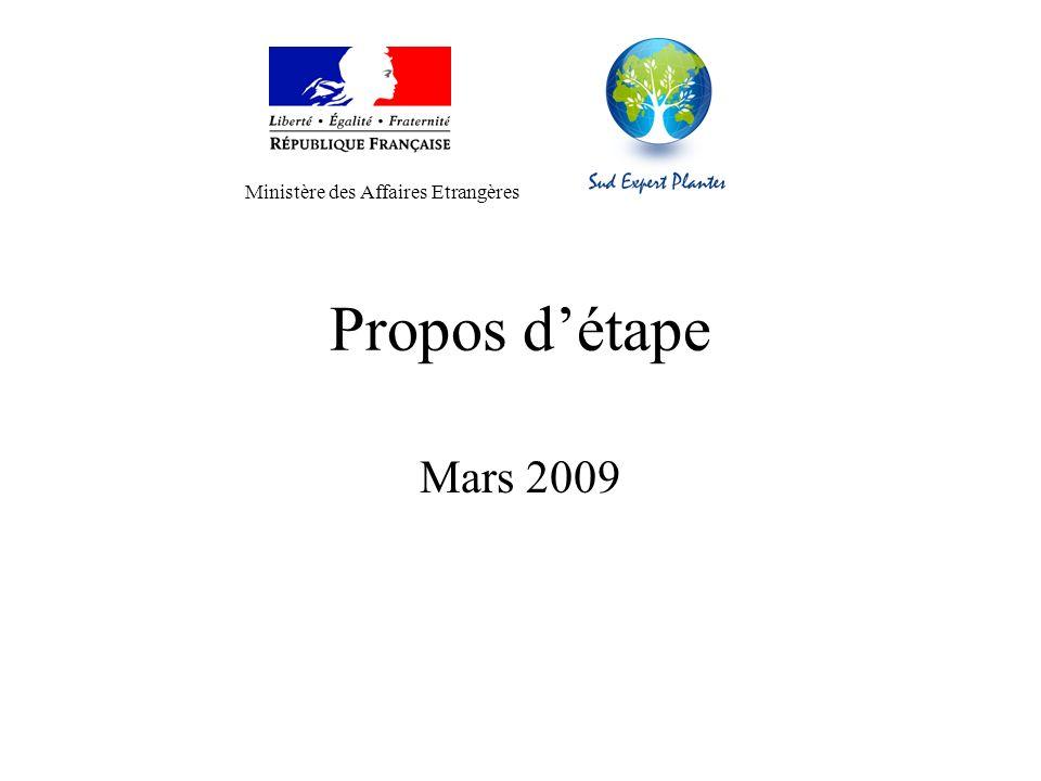 Propos détape Mars 2009 Ministère des Affaires Etrangères