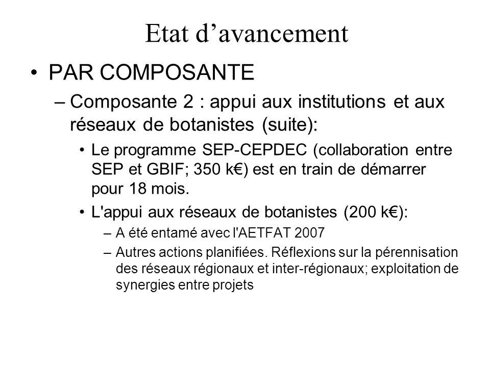 Etat davancement PAR COMPOSANTE –Composante 2 : appui aux institutions et aux réseaux de botanistes (suite): Le programme SEP-CEPDEC (collaboration entre SEP et GBIF; 350 k) est en train de démarrer pour 18 mois.
